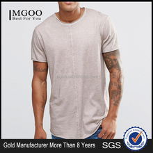 MGOO Cheap Price Wholesale T shirt With Raw Curved Hem And Oil Wash Plain Long Tshirt