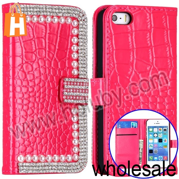 Hot Sale! Fashion Bling Bling Rhinestone Pearl Diamond Wallet Leather Case for iPhone 5 iPhone5S