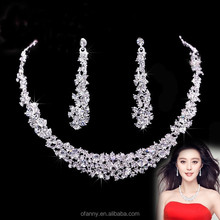 New 2015 Rhinestone indian bridal Jewelry african silver necklace wedding jewelry set