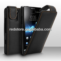 Vertical Black PU Flip Leather Case Cover for Sony Xperia S LT26i,black xperia s case