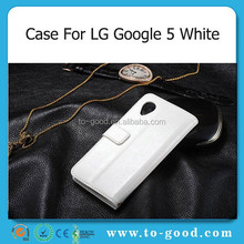 New Luxury Phone Accessory PU Leather Stand Function Case Wallet For Google Nexus 5 Waterproof Case (White)