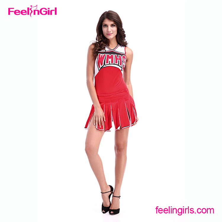 Accept Paypal Red 2 Pcs Set Sex School Girl Cheerleader Costume