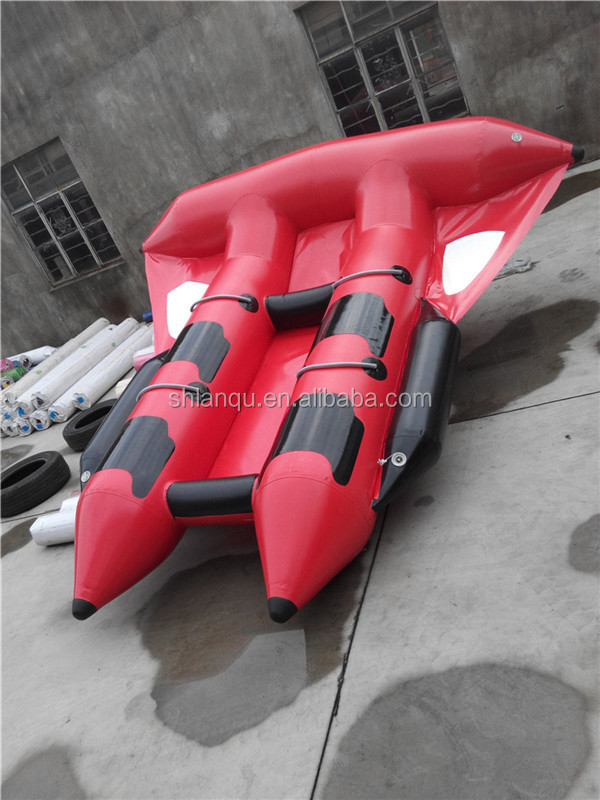 PVC Tarpaulin Inflatable Flying Fish Tube Towable / Inflatable Water Games Flyfish Banana Boat For sale