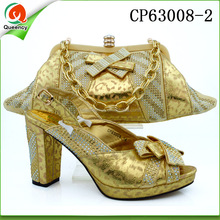 CP63008 Queency 2017 latest high-class handbag, italian shoes and bag set for women
