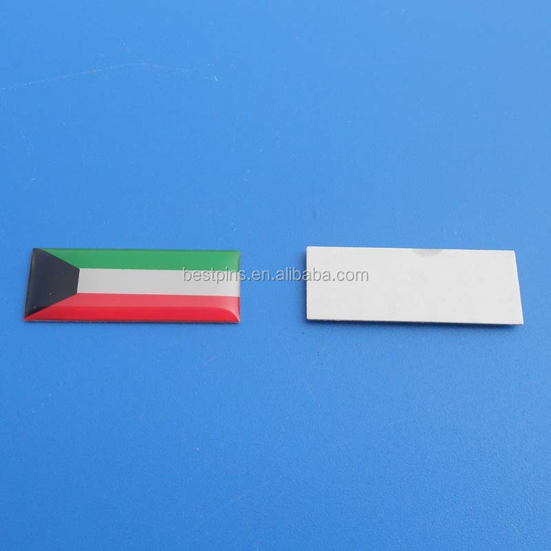 Kuwait national flag sticker metal stickers 3m adhesive back custom metal stickers