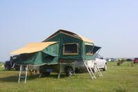 Camouflage camper trailer