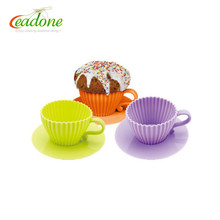 Newest Kids baking tools silicone teacup cake ice ceram mould set of 4