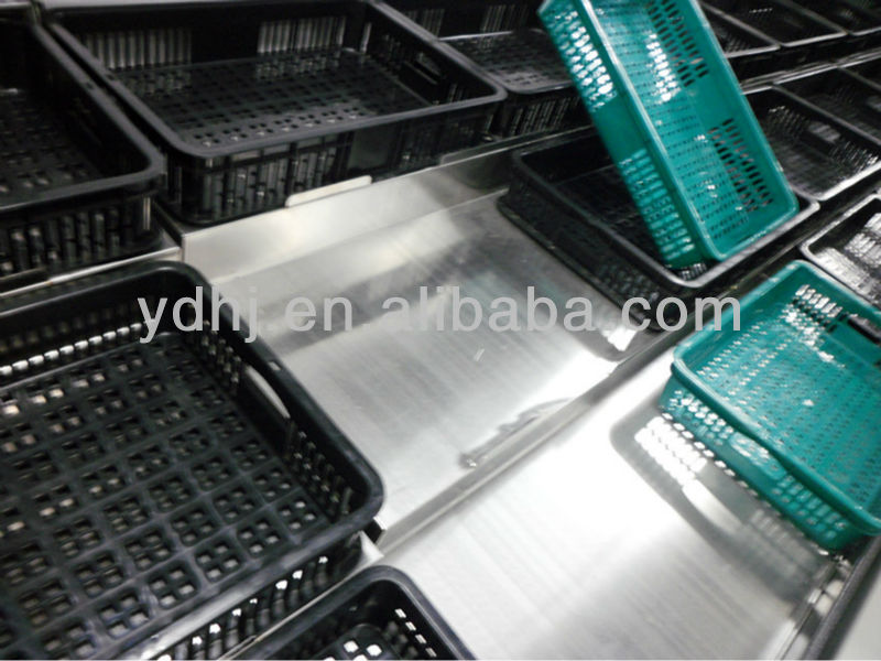 YD-V009 Supermarket Three Layers Stainless Steel Standing Fruit and Vegetable Display Racks with Basket