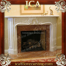 White marble french stone fireplace mantel