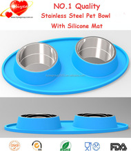 Lovely Haba Cat Puppy Feeder Bowl Stainless Steel Pet Dog Bowl Double Dog Bowl with No Spill Non Skid Silicone Mat