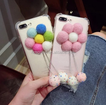 Luxury flower Rope soft full protect Tassel fur ball phone Case For iPhone 7 7Plus 6 6S 6plus 5 S 5S SE