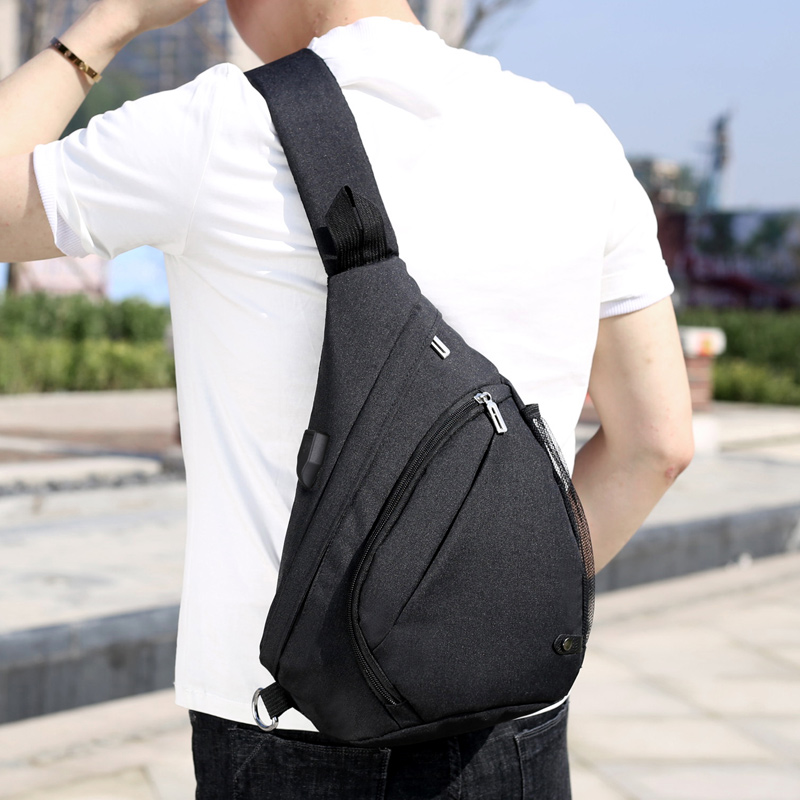 2017 New polyester two sided travel casual shoulder strap school bag hiking crossbody sling bag for boys