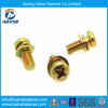 Stock Yellow Zinc Plated Small Cross Pan Head Screws with Washers