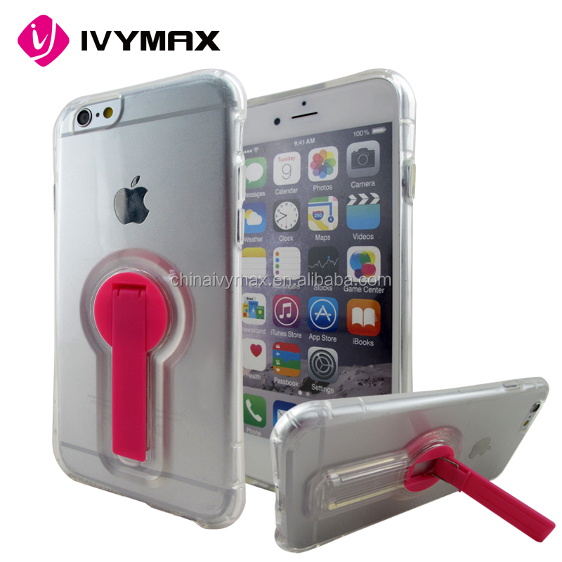 Hot sale Soft clear TPU cover case with stand for iphone 6/4.7