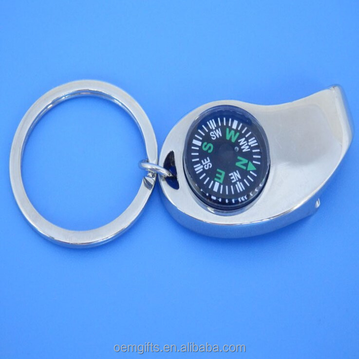 Promotional Metal Bottle Opener Keychain With Compass