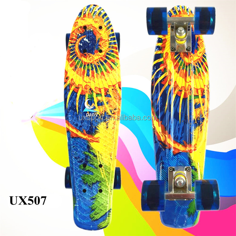 "Graphic Plastic Skateboard Mini Cruiser Complete 22"" x 6"" Longboard Boy Girl Retro Skate Board"