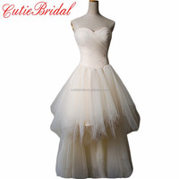 Real Photos Bridal Gowns Front Short And Back Long Bridal Dresses Hi-lo Wedding Gowns