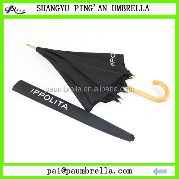 Black wooden umbrella with white logo printing with carry bag for promotion