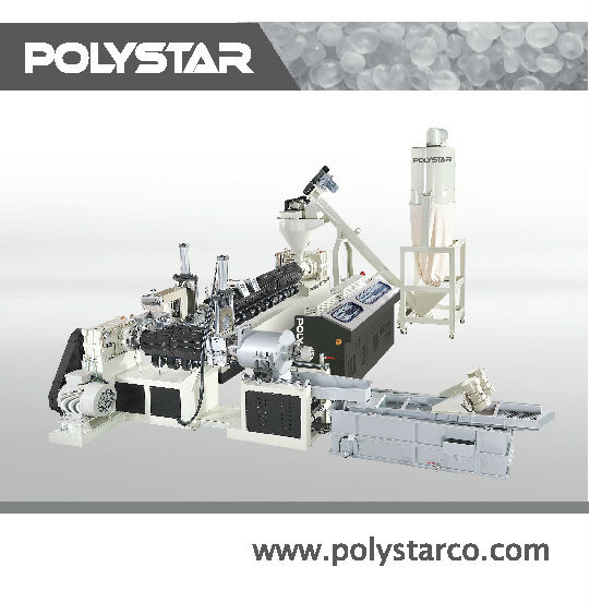 Heavily printed / water content HDPE, LDPE, LLDPE, PP, BOPP, EPS, PU, PC, ABS double stage plastic recycling granule machine