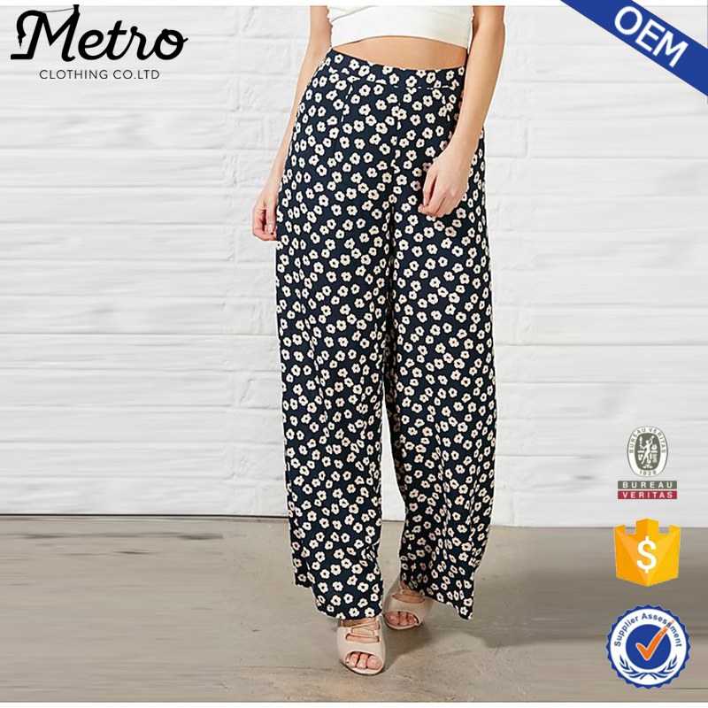 Wholesale Fat Women Wide Leg Printed Hippy Pants