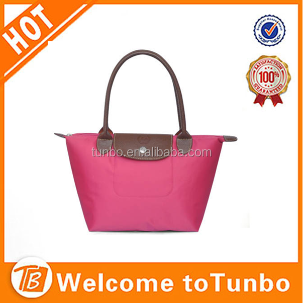 Wholesale fashion nylon lady hand bag foldable tote bag