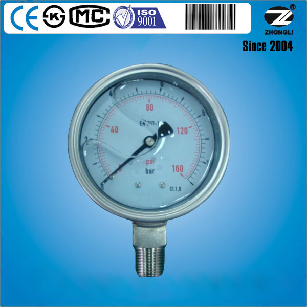 "4"" stainless steel 160PSI 12BAR bourdon tube hydraulic pressure gauge SS316L"