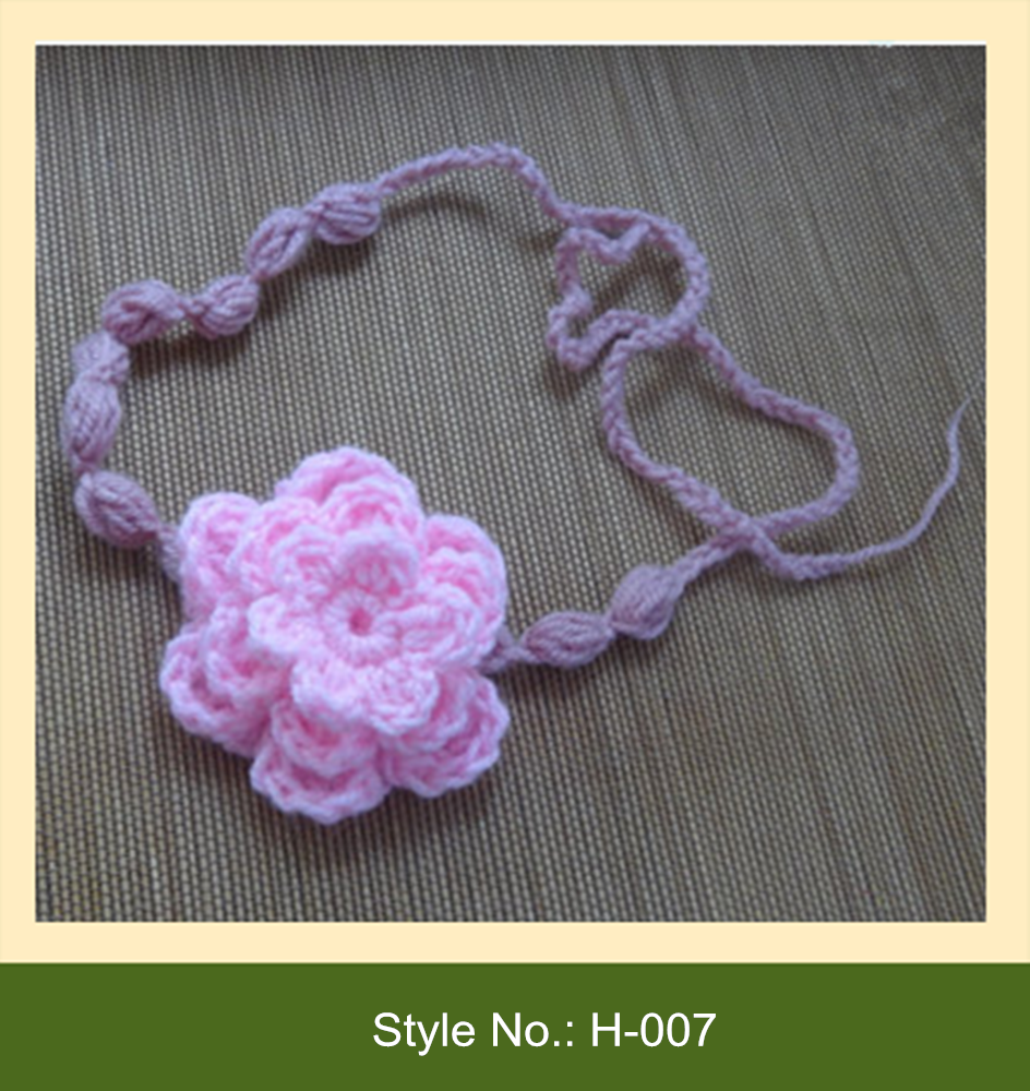 H-007 handmade baby children knit crochet flower headband