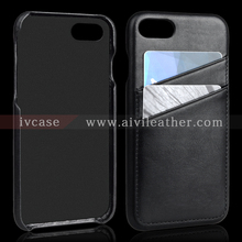 For Iphone 7 Genuine Wrapped Leather Back Cover Black Color With Card Holders