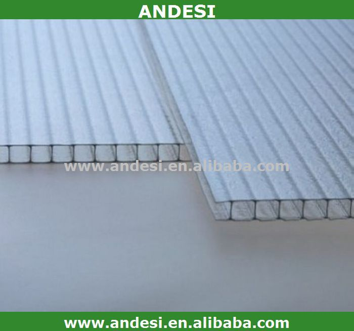 twin wall 4mm hollow polycarbonate sheet board