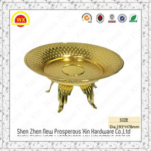 high gold metal candy plate with 3-tier wooden fruit tray stand