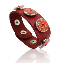 2017 Punk Rock Red Leather Bracelets & Bangles For Women Men Jewelry Fashion Wristband Charm Snap Button Bracelet Pulseras