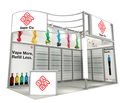 portable exhibition stand design for trade show, custom exhibition booth design with more shelves