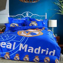 Percale high quality 100% cotton reactive printing blue Real Madrid soccer club team bed sheet