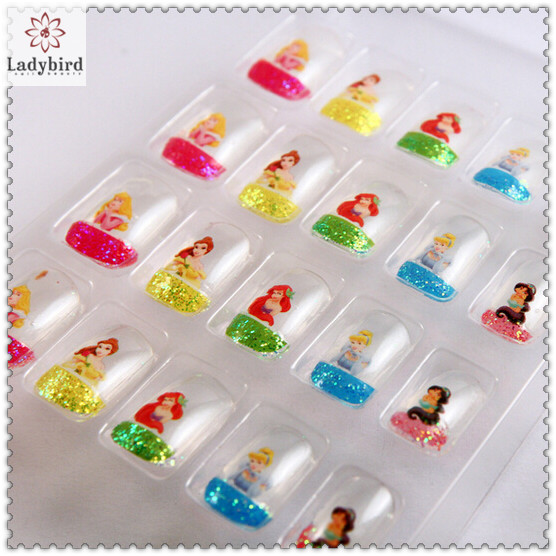 kids glitter french adhesive fake nails, View nail tips, LADYBIRD ...