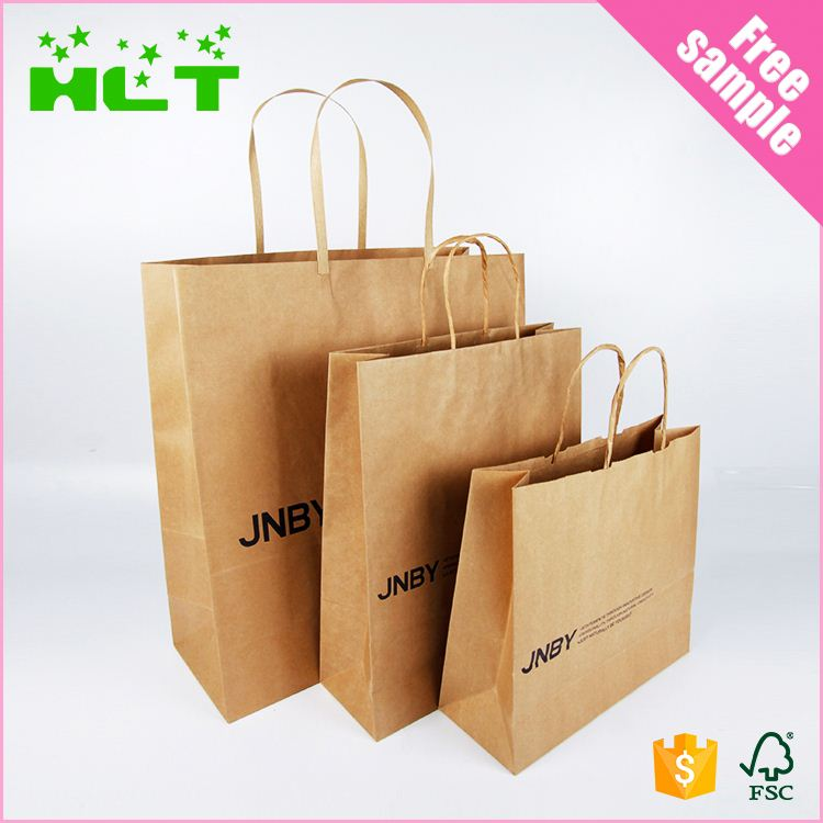 Custom Design Printed Shopping Brown Kraft paper gift bags with rope handles