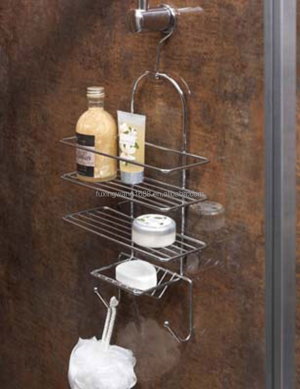Shower Caddy Soap Storage Rack Organiser Holder Chrome With Hook ...
