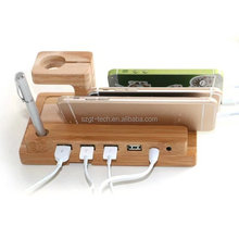 cable organizer bamboo wood charge dock holder for phones tablets