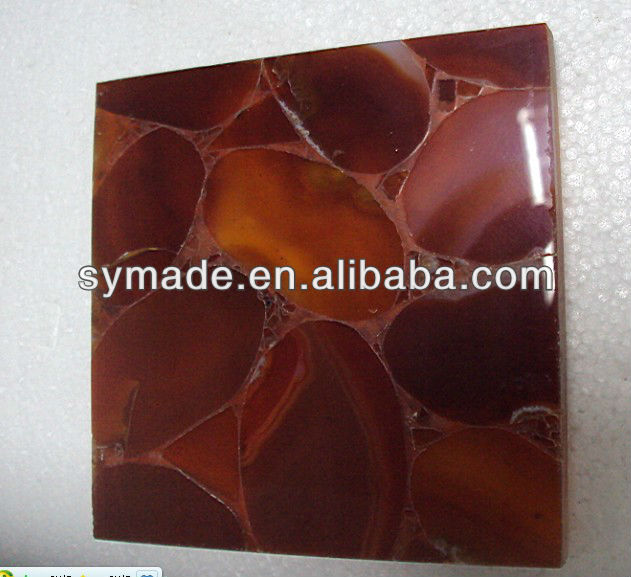 Agate backlit red mosaic tile countertop hotel bar table for Mosaic tile bar top