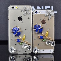 for iphone 4 Mobile accessory,Hot Sale Rose Design Rhinestone Crystal Covers Ladies Cell phone Cases for iphone 4