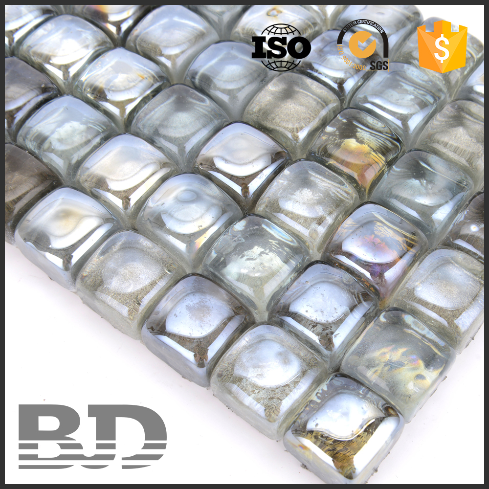 25 x 25 x 18 mm wavy new shape water jet glass mosaic tile