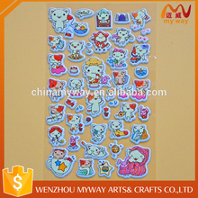 Hot sell foam decorative cute glitter surface custom 3d leather puffy stickers