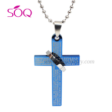 SP18062901 Wholesale blue stainless steel sculpture of the English symbol fashion cross with steel ring sideways cross jewelry