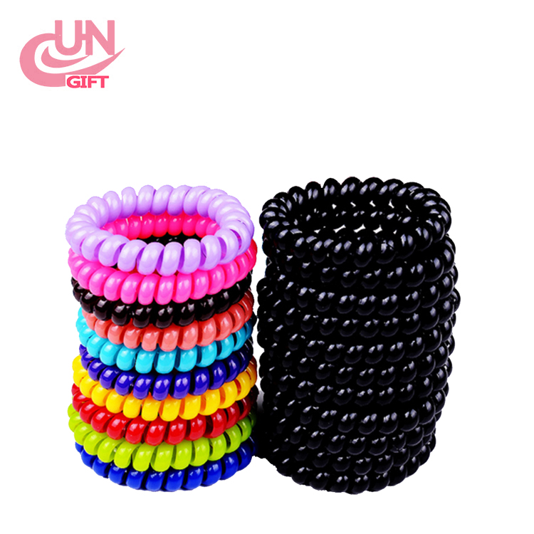 Elastic Telephone Wire Cord Head Ties Hair Band Rope Colorful Hairband Waterproof