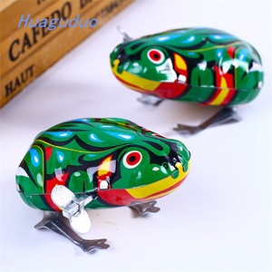 Alibaba wholesale wind up tin toys Simulation frog metal toy for children baby Crawling toddler toys