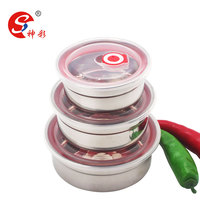 4/5 PCS stainless steel airtight food container/ fresh seal bowl/stainless steel mixing bowl set with lids