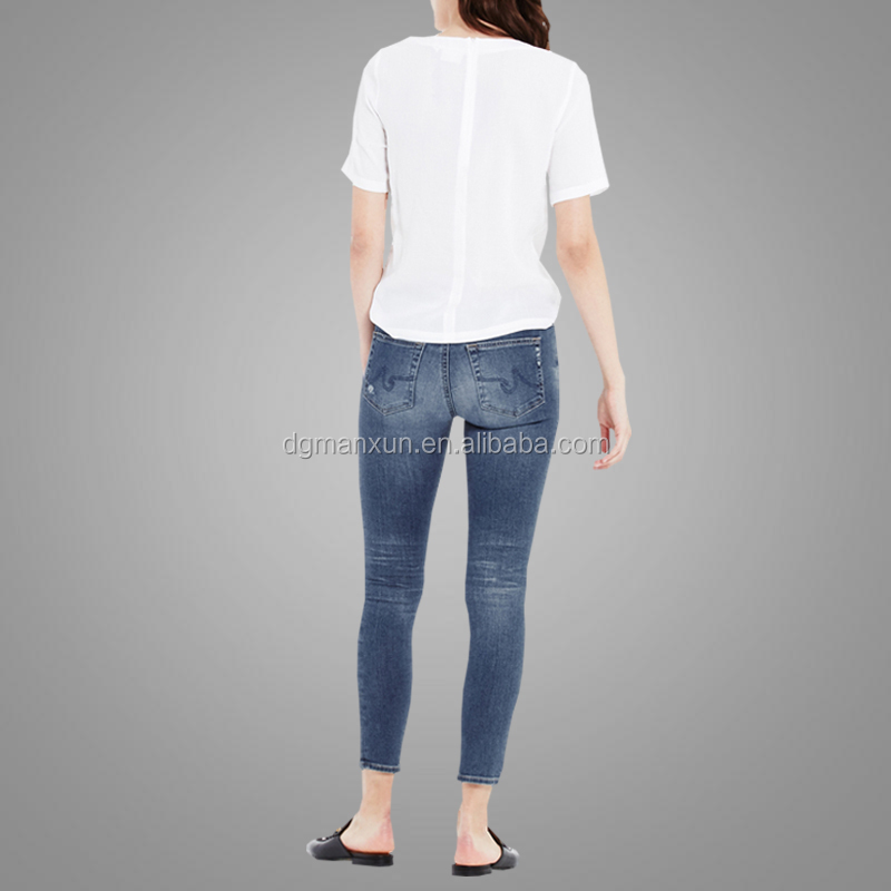 Newest fashion women high waisted skinny jeans denim fabric ladies pants