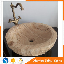 Fancy Western Bathroom Sandstone Basin Wooden Sink