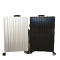 Strong Aluminium ABS PC Aluminium Frame Luggage Suitcase With Leather Handle