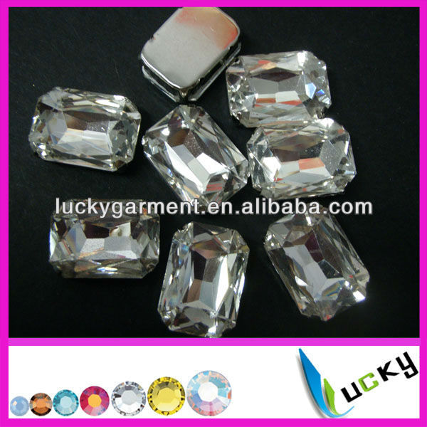 point back crystal for jewel rectangle strass with metal claw