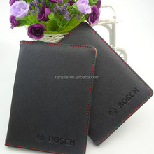 embossed logo black pu custom passport cover